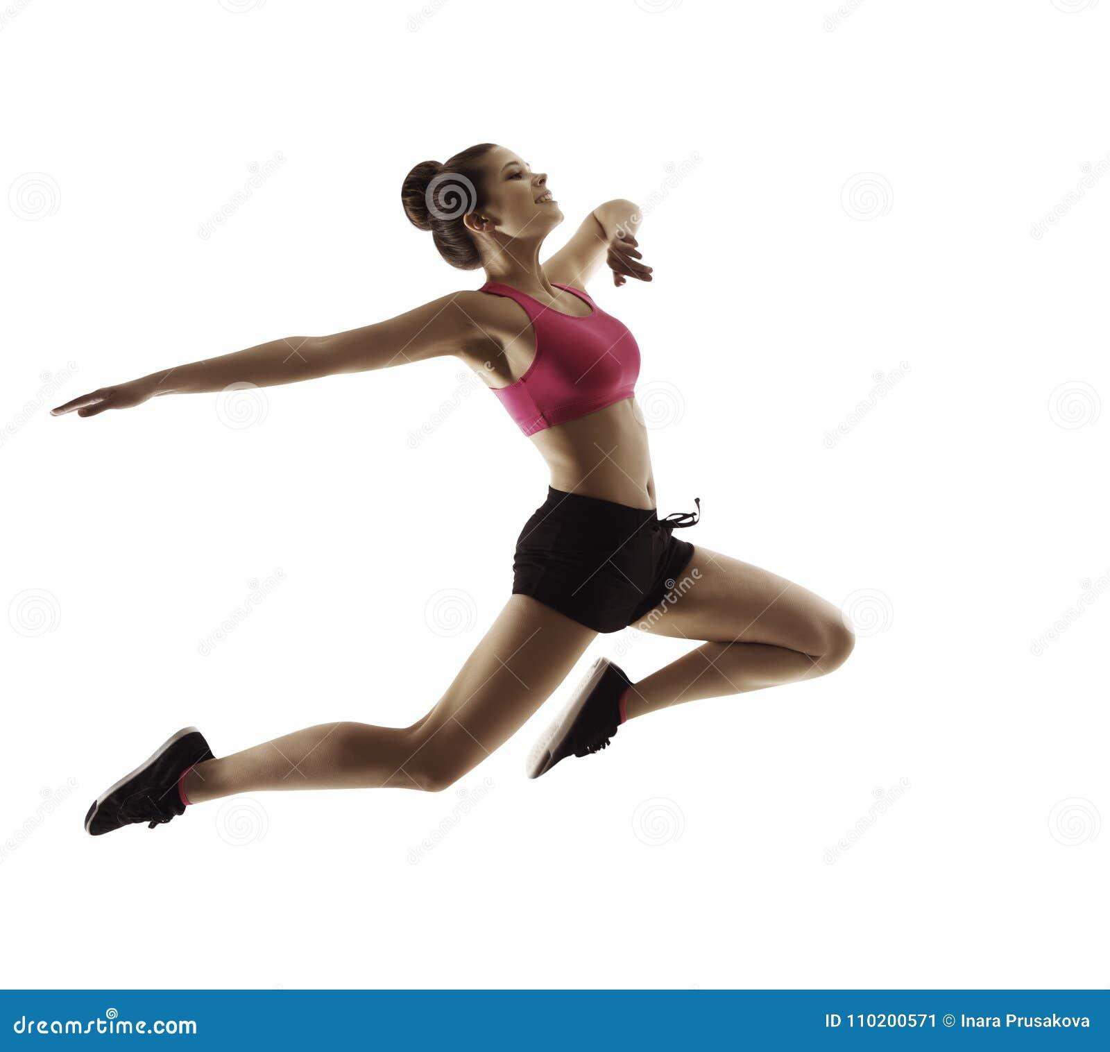 Springende Sport-Frau, glückliches Eignungs-Mädchen im Sprung, aktive Leute