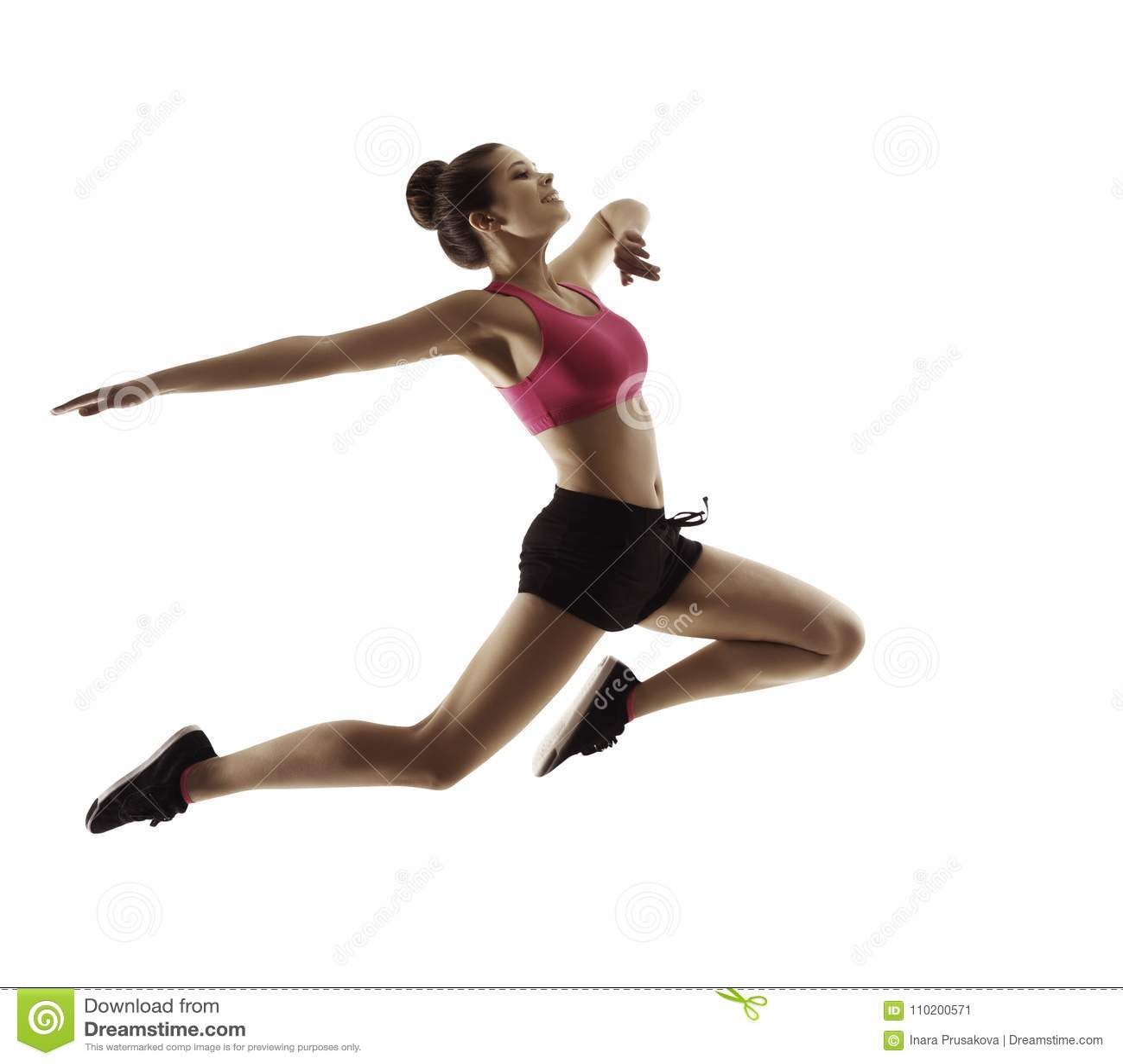 Springende Sportvrouw, Gelukkig Fitness Meisje in Sprong, Actieve Mensen
