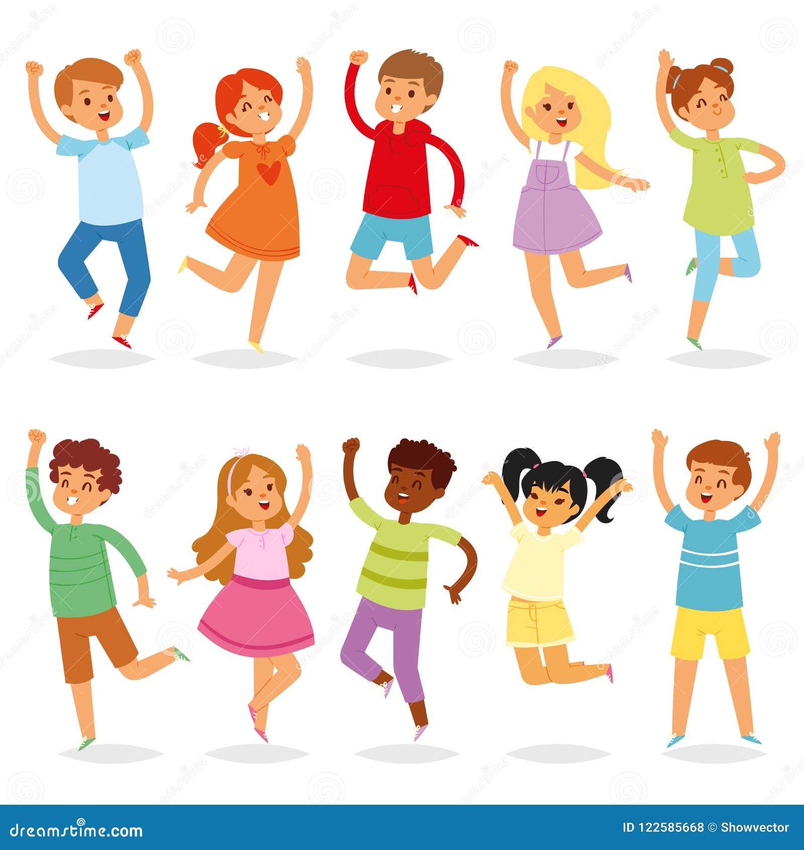 Springender Kindervektoryong-Kindercharakter in der Sprungstätigkeit im Kindheitsillustrationssatz spielerischen Kindern und Lach