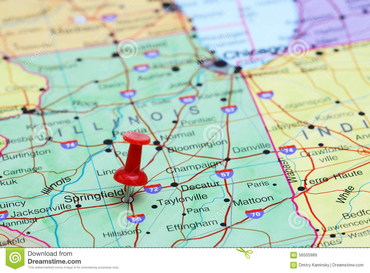 Springfield Pinned On A Map Of USA Stock Photo Image - Images for map of usa