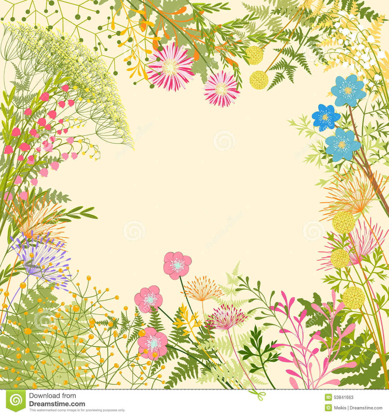 Springtime Colorful Flower Garden Party Background Stock