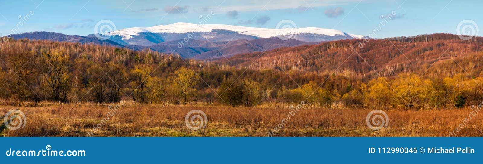 Springtime countryside with snowy mountain