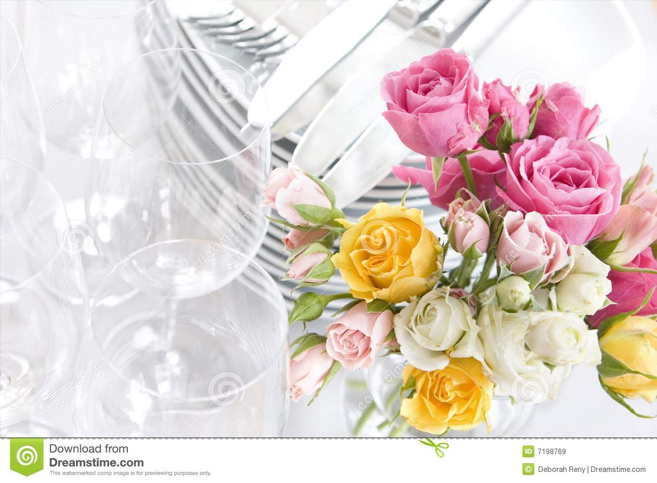springtime or wedding buffet dishes and roses royalty free stock