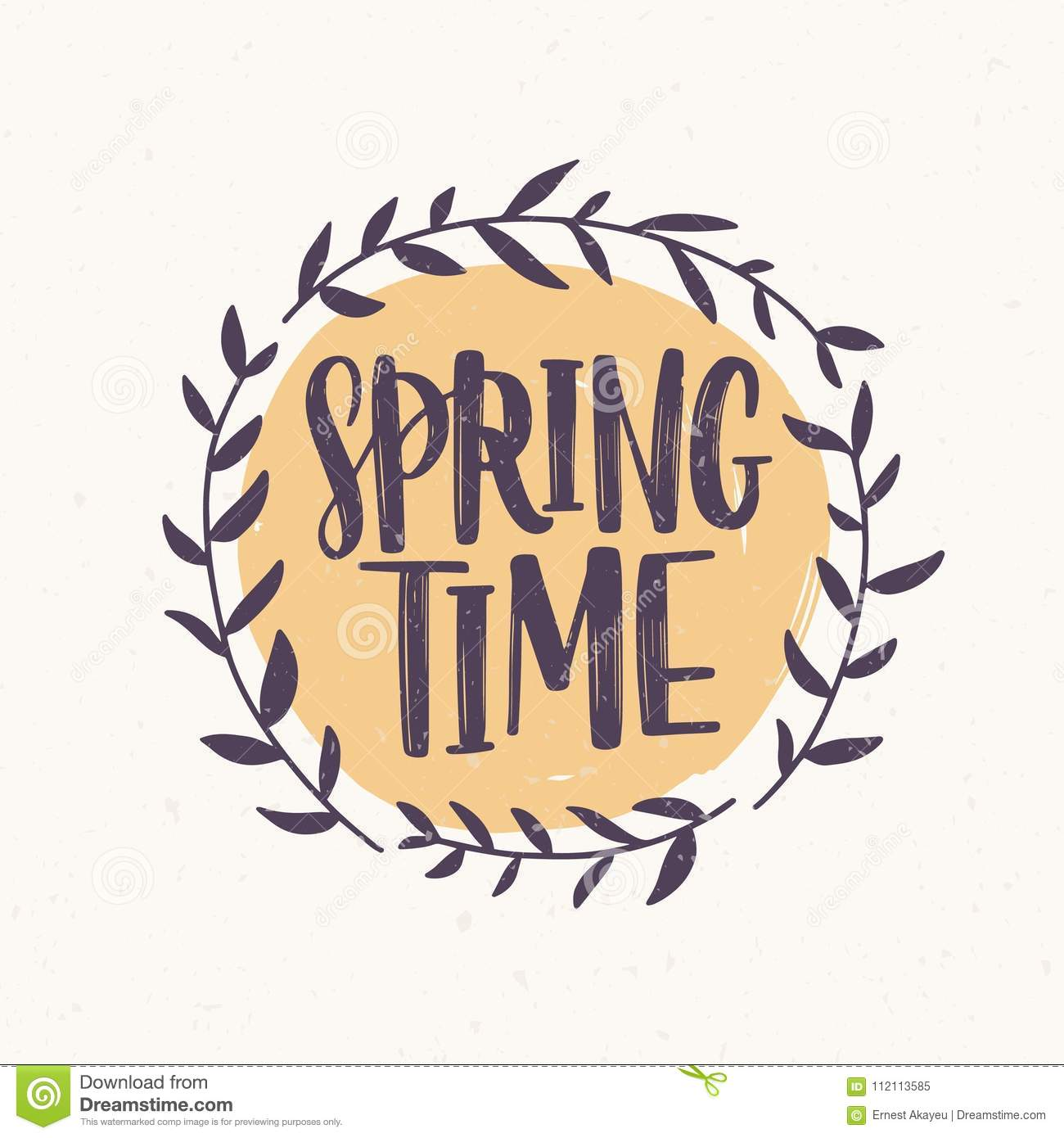 Springtime Word Written With Elegant Font Inside Round Frame Or