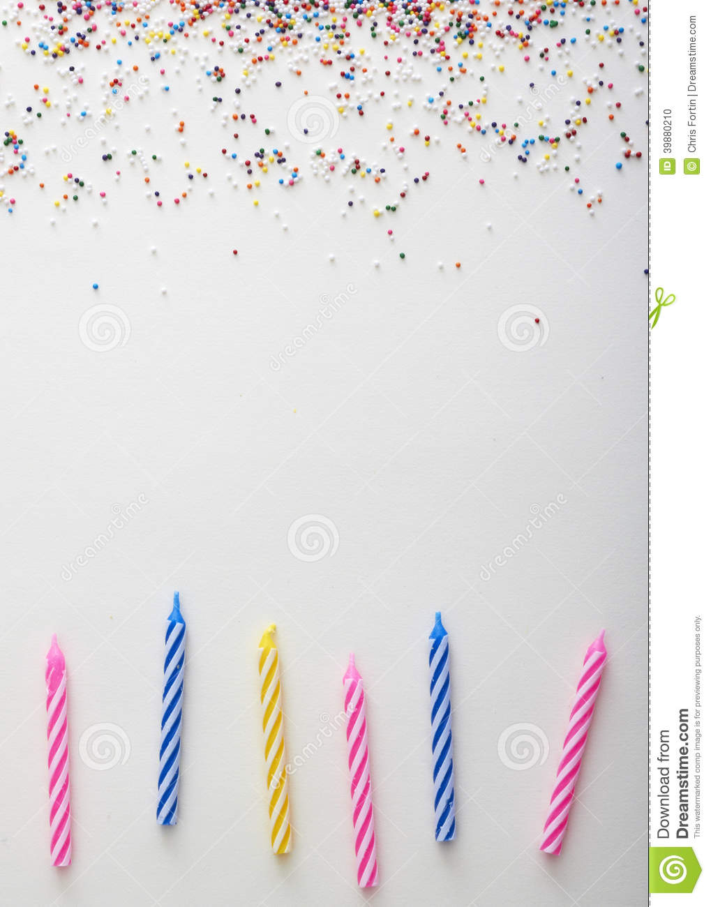 Sprinkles And Candles Background Stock Photo Image 39880210