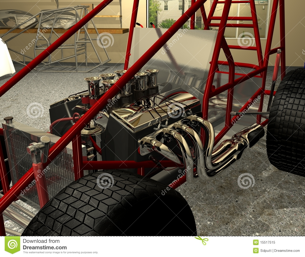 Sprint Car Frame Motor And Wheels Stock Illustration