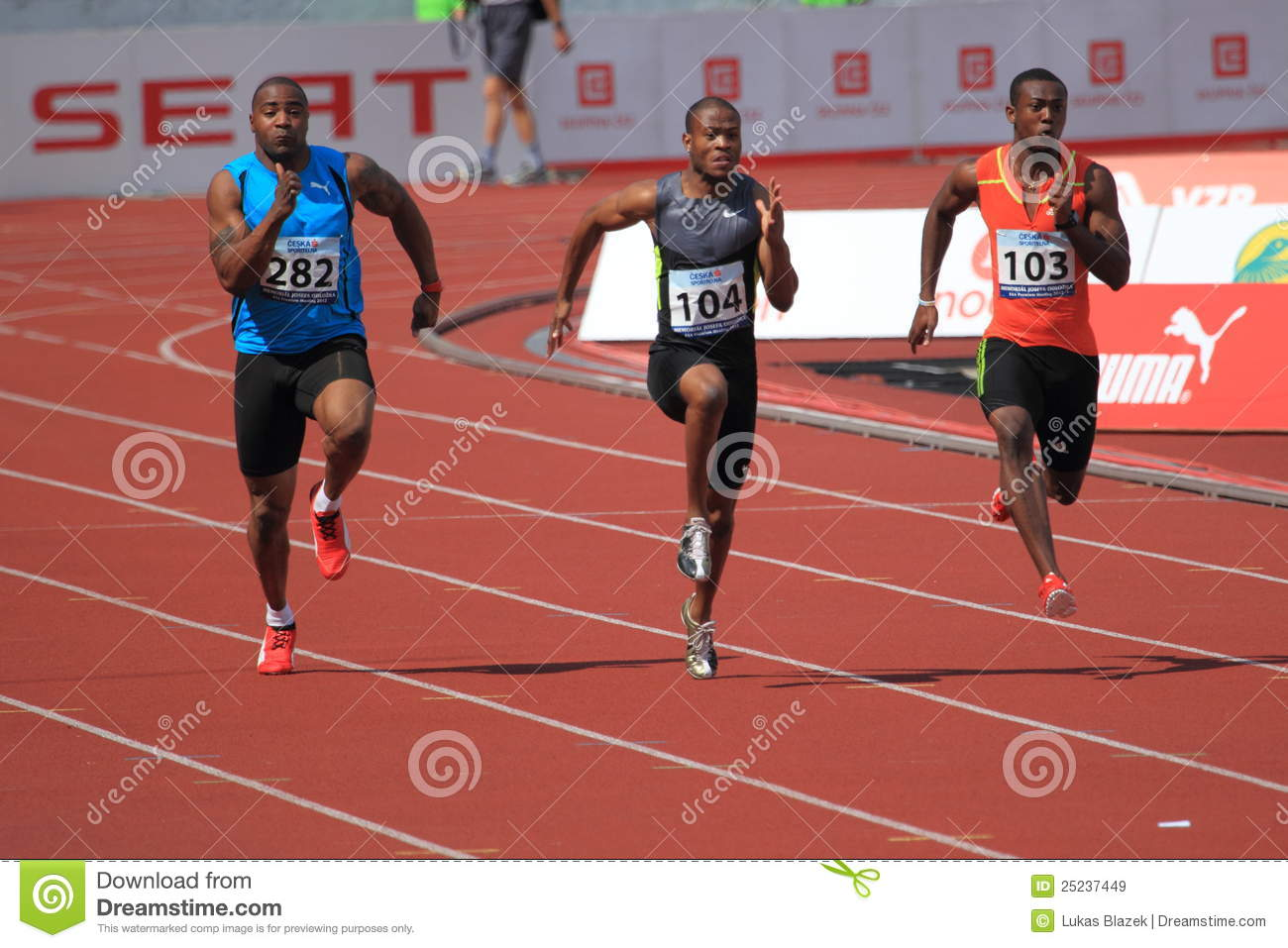 The sprinters in the 100 metres men race held within the 19th annual
