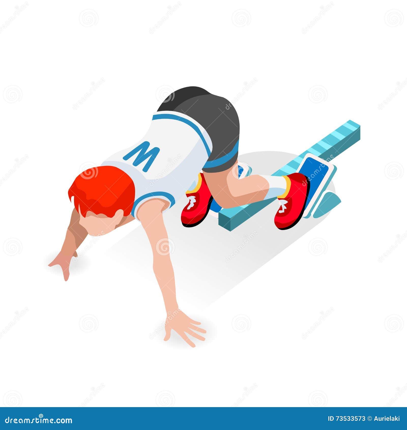 Sprinter Runner Athlete at Starting Line Athletics Race Start Summer Games Icon Set.3D Flat Isometric Sport of Athletics Runner