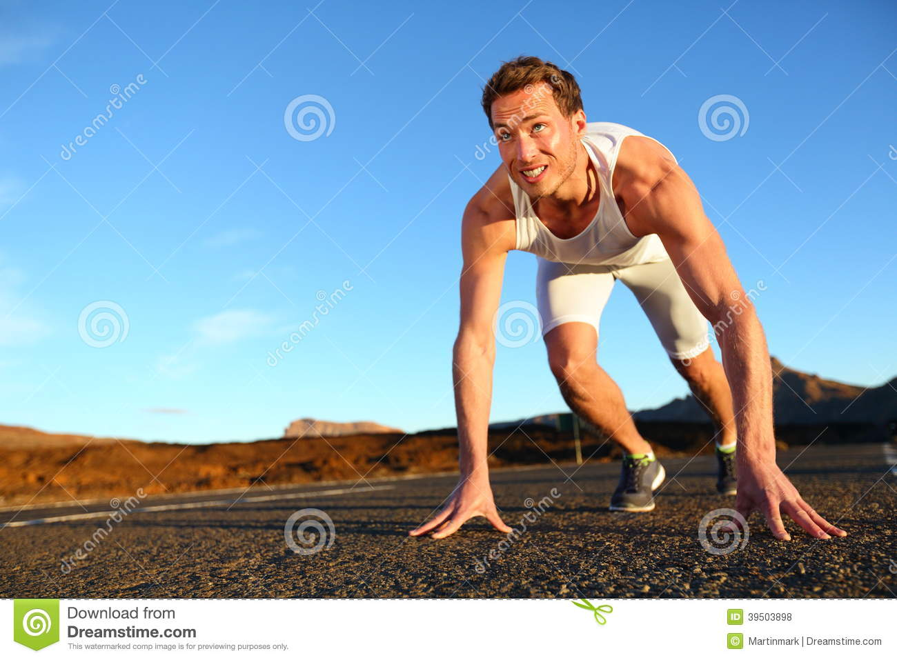 Sprinter Starting Sprint - Man Running Stock Photo - Image ...