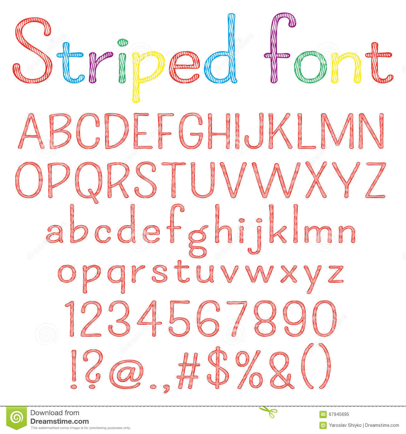 Spriped Font Alphabet Numbers Punctuation Marks One Letter Compound Path Easy To Change Colors For Your Design
