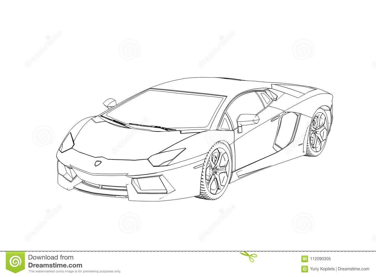 Sprot Car Lamborghini Aventador Sketch 3d Illustration Stock