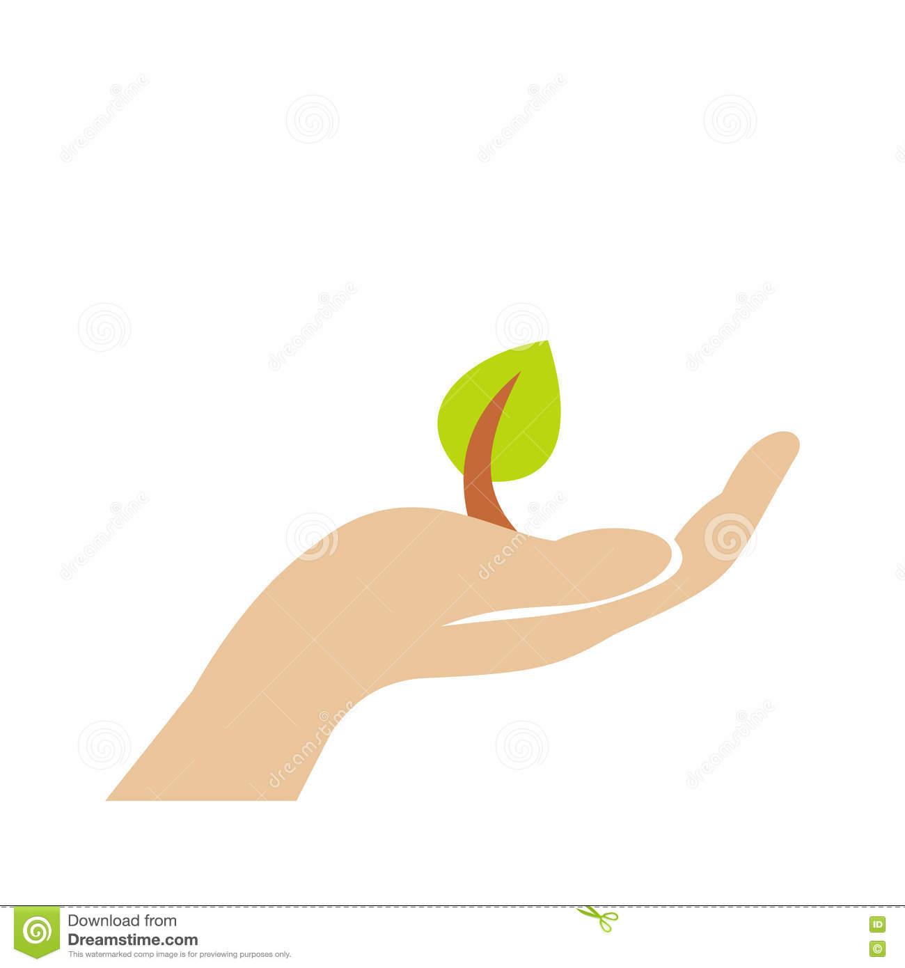 Sprout In Hand Flat Icon Stock Vector Illustration Of Emblem 79660881