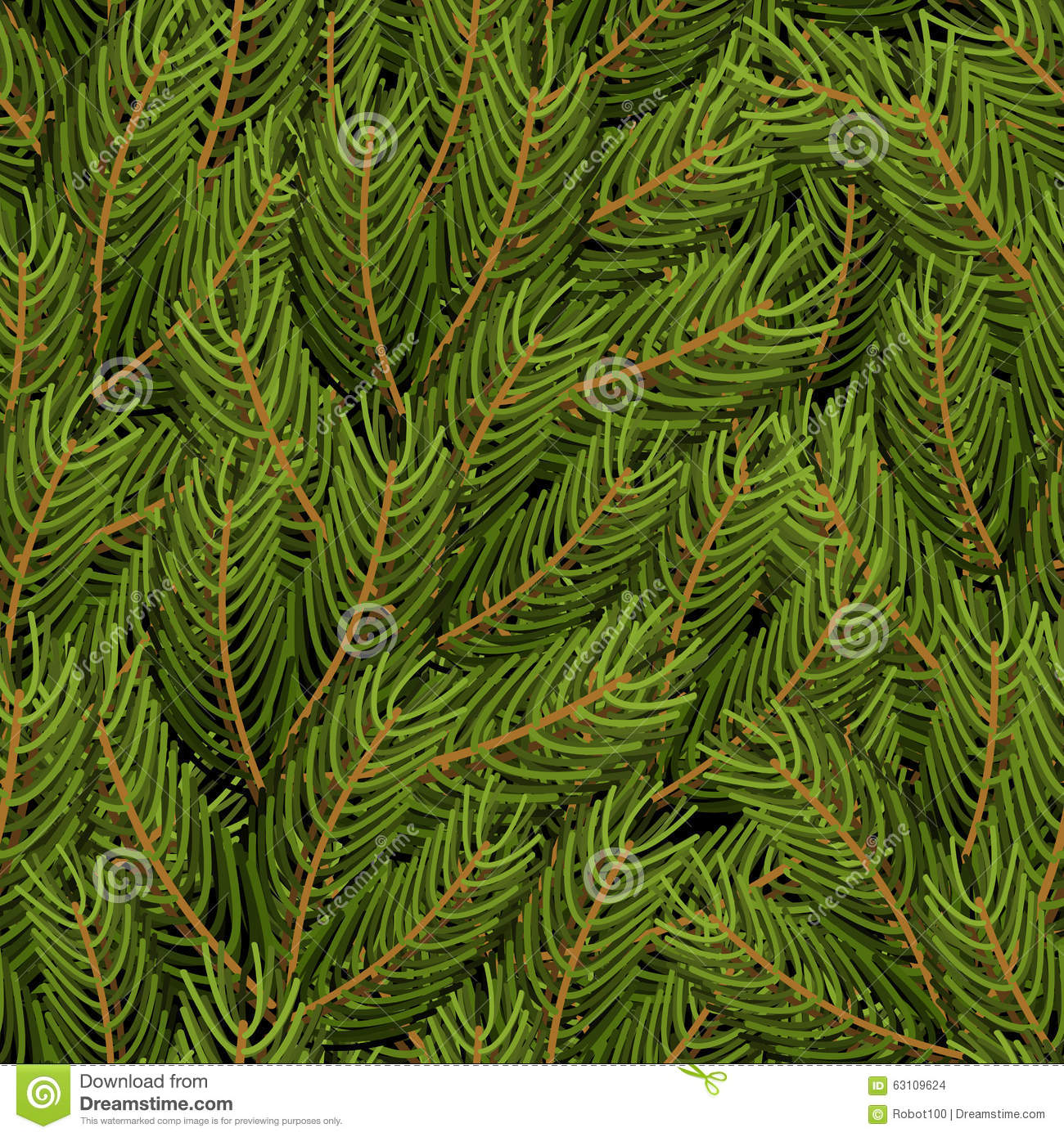 Spruce Branch Background Fir Branch Seamless Pattern