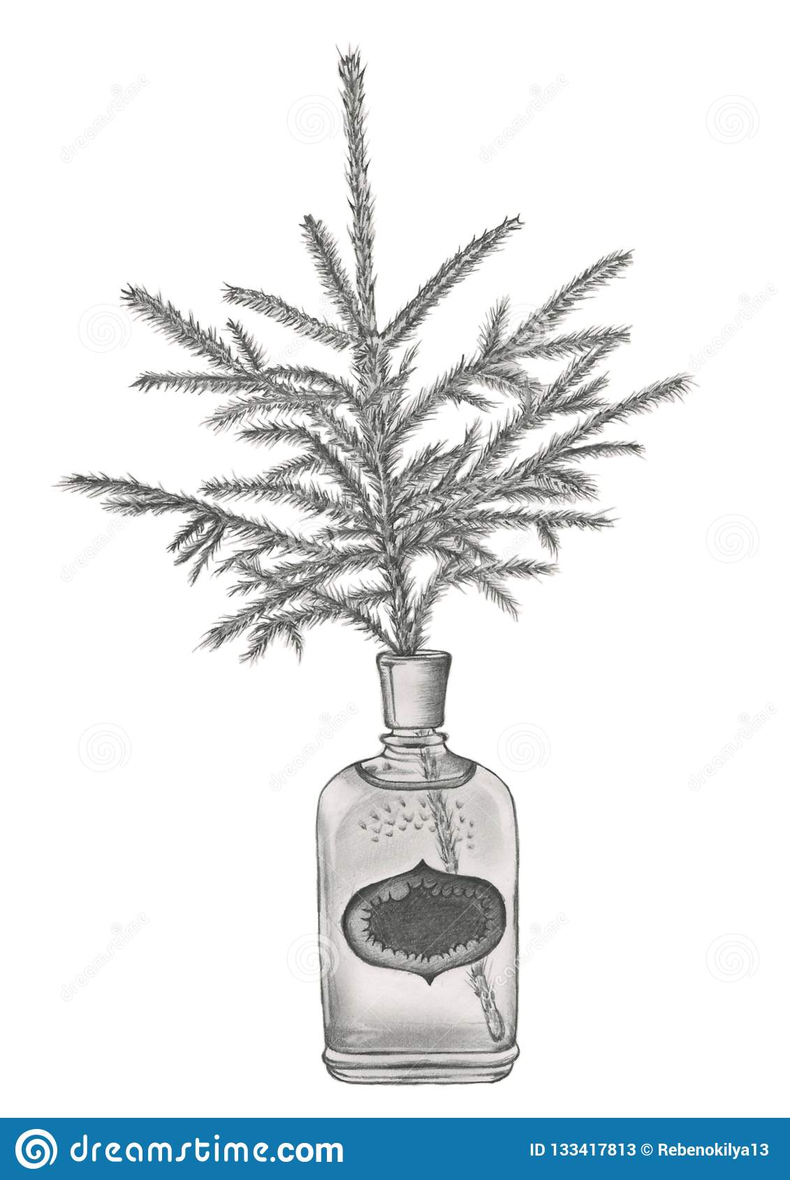 A spruce branch in the old fashioned perfume bottle