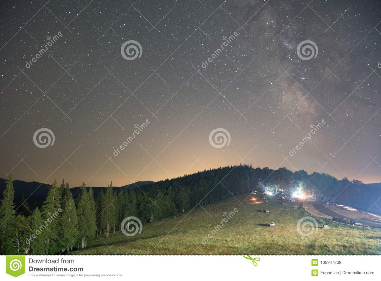 Spruce forest and lit houses at night, visible Milky Way galaxy, clear sky, long exposure