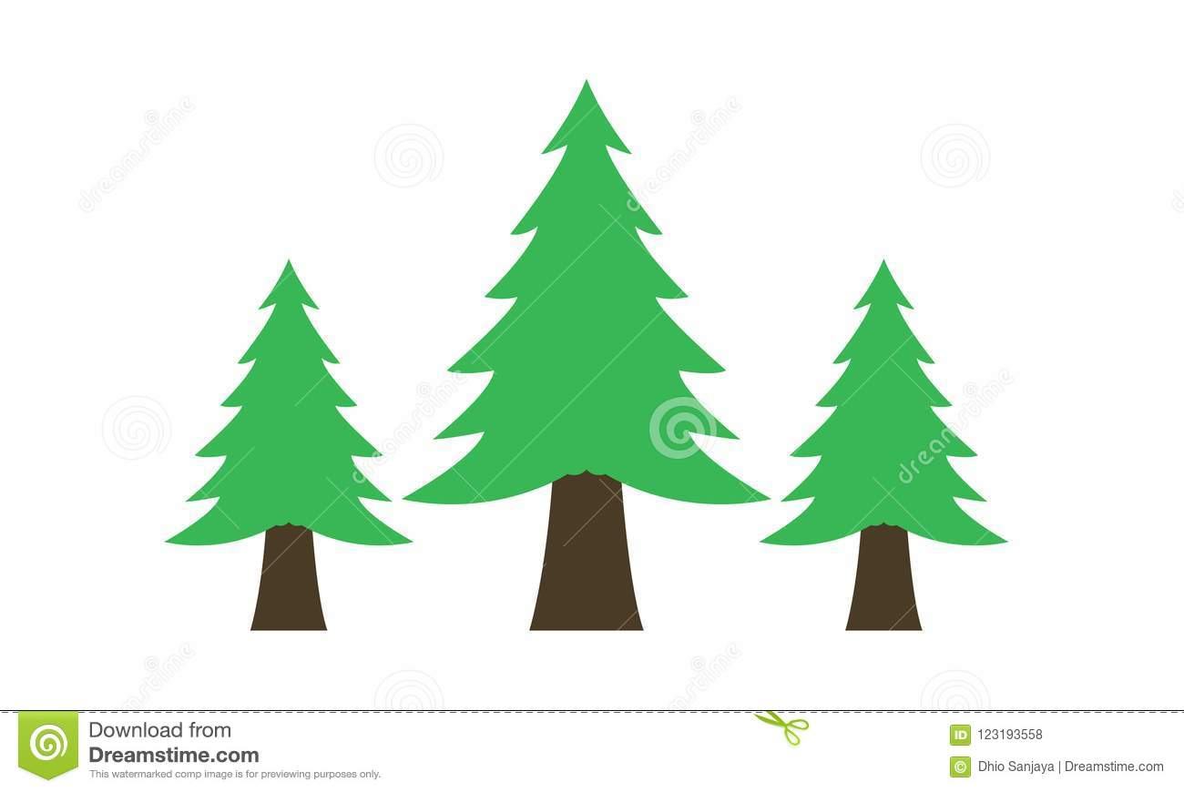 Spruce, Pine Trees, Fir Tree, Grass, Logo, Nature, Green, Icon set of Vector