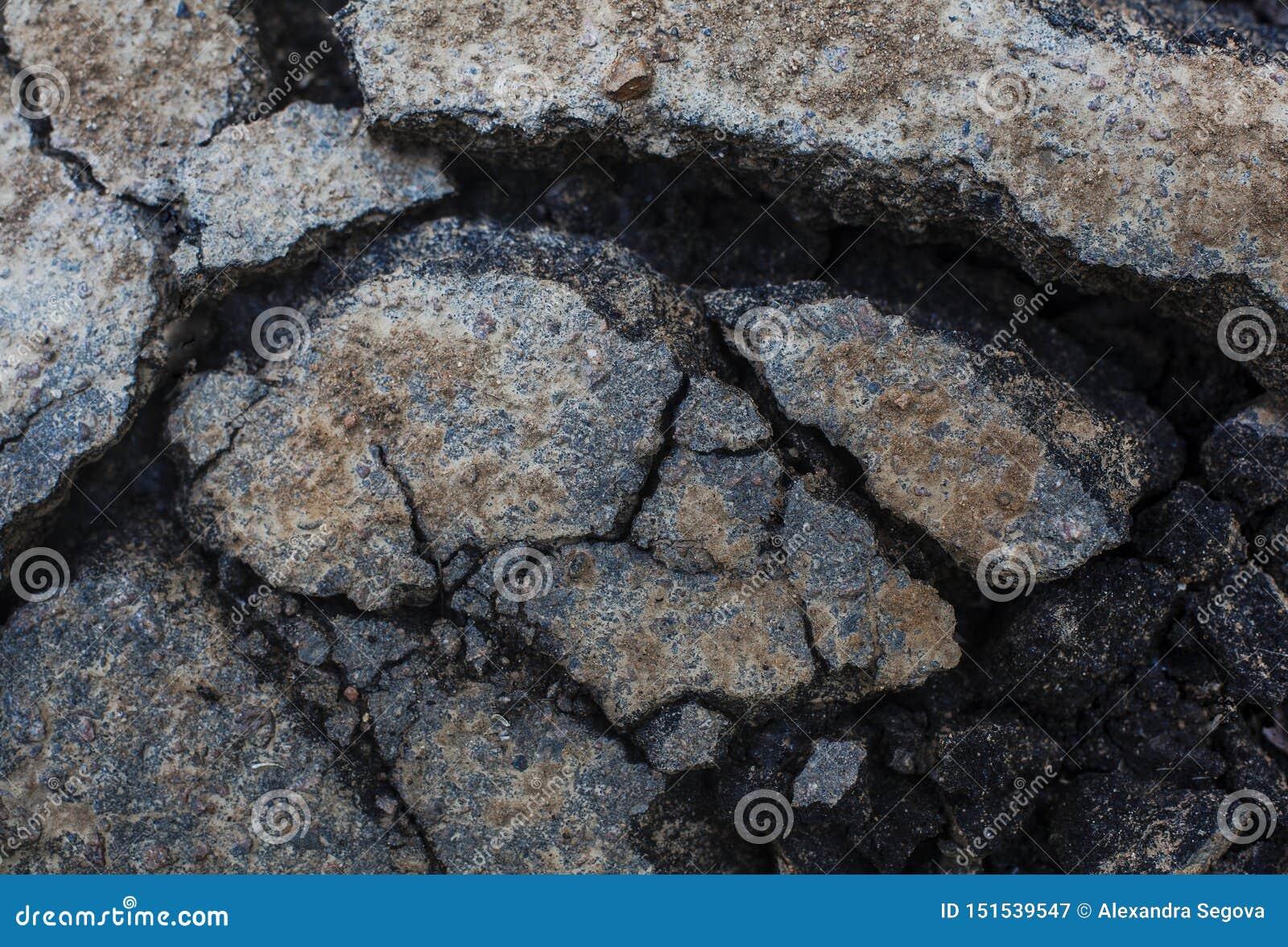 Sprucken asfaltclouse-up för bakgrund lerig yttersida
