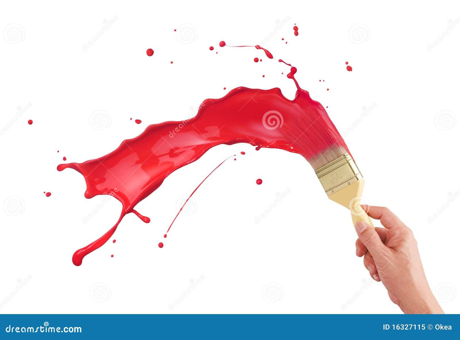 Spruzzatura rossa della vernice