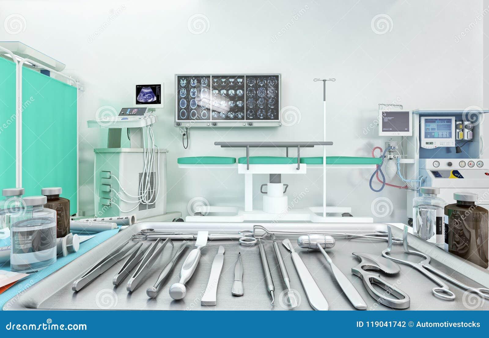 Sprzęt medyczny, przyrząda w nowożytnej sala operacyjnej ilustracja 3 d