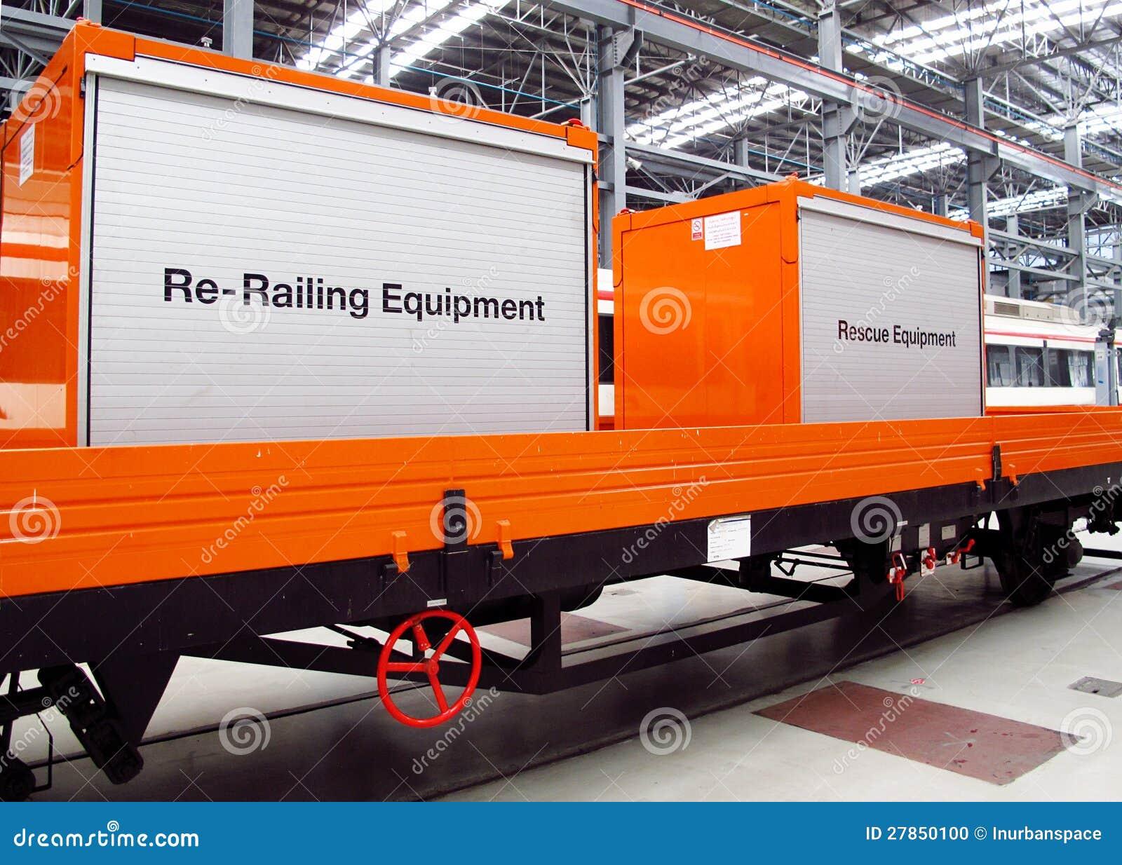 Sprzęt ratowniczy na ciężarówce pociąg.