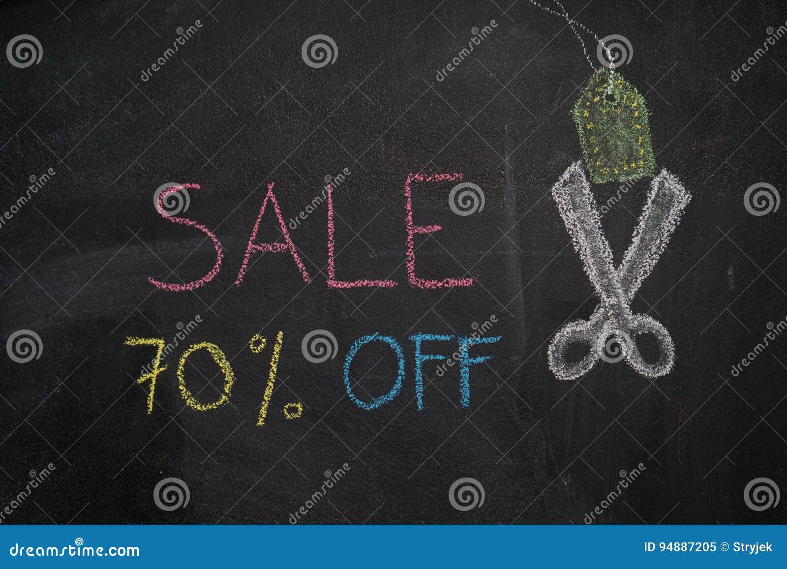 Sprzedaż 70  daleko na chalkboard