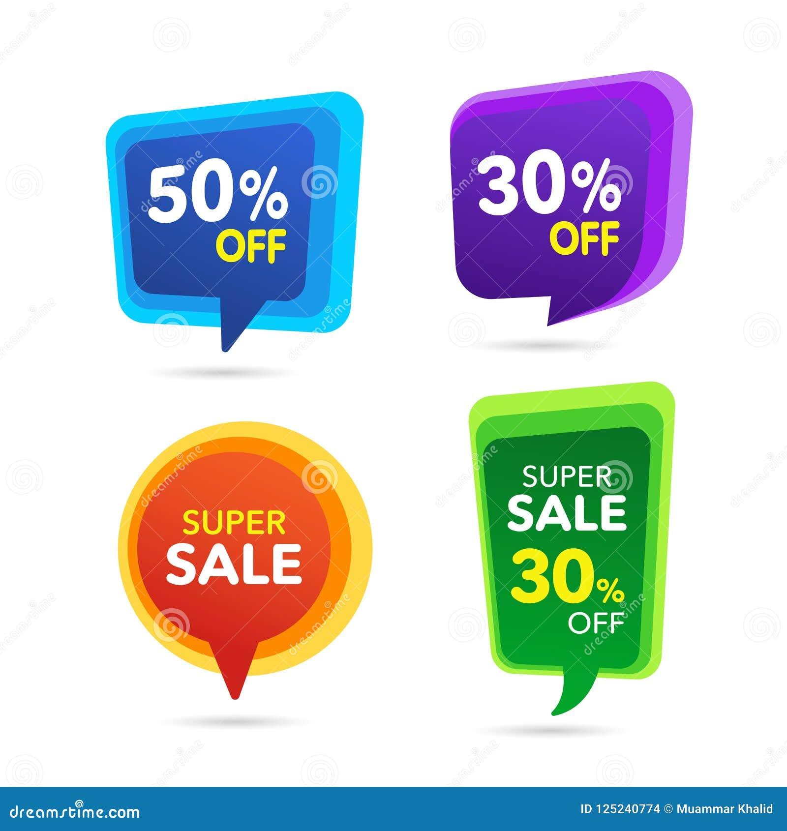 Sprzedaż Dyskontowy sztandar Dyskontowa oferty metka Specjalnej oferty sprzedaży purpury, błękit, zieleń, żółta etykietka Wektoro