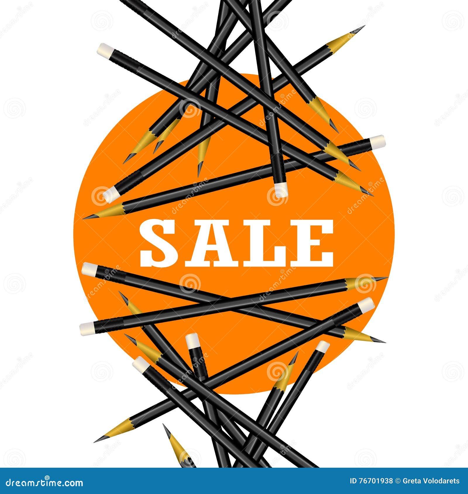 Sprzedaż majcher Pomarańczowy tło Ołówka wektoru ilustracja