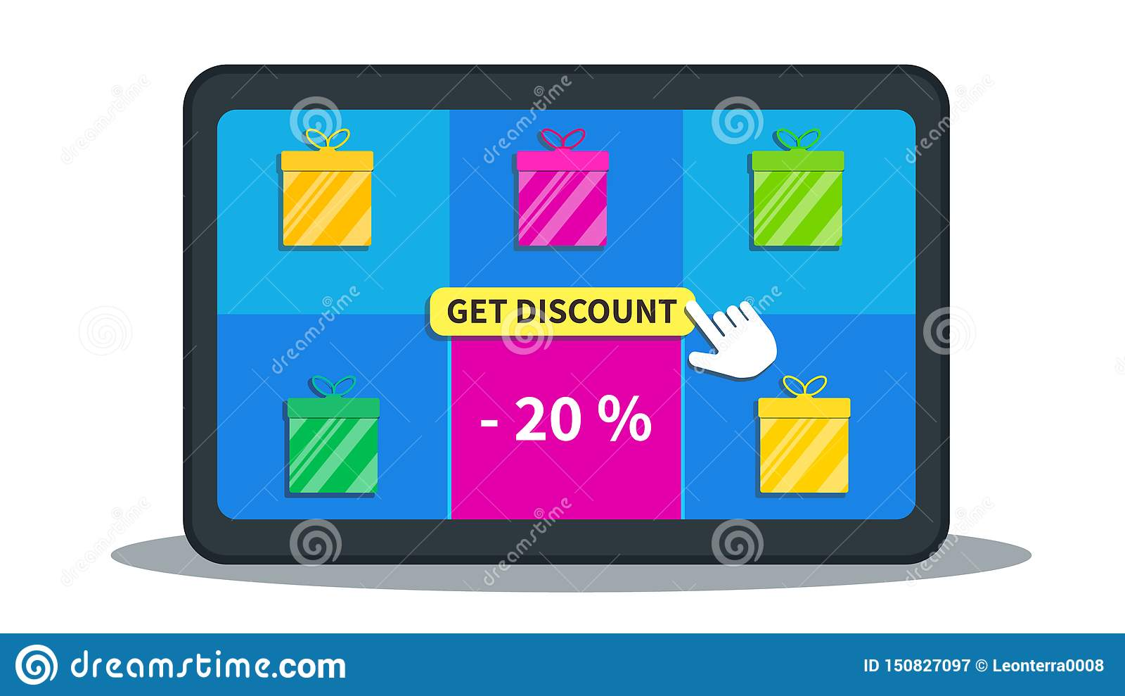 Sprzedaż, oferty specjalnej promocja, 20  daleko Online zakupy transakcje Płaska pastylka z prezentów pudełkami ikony i kursoru s