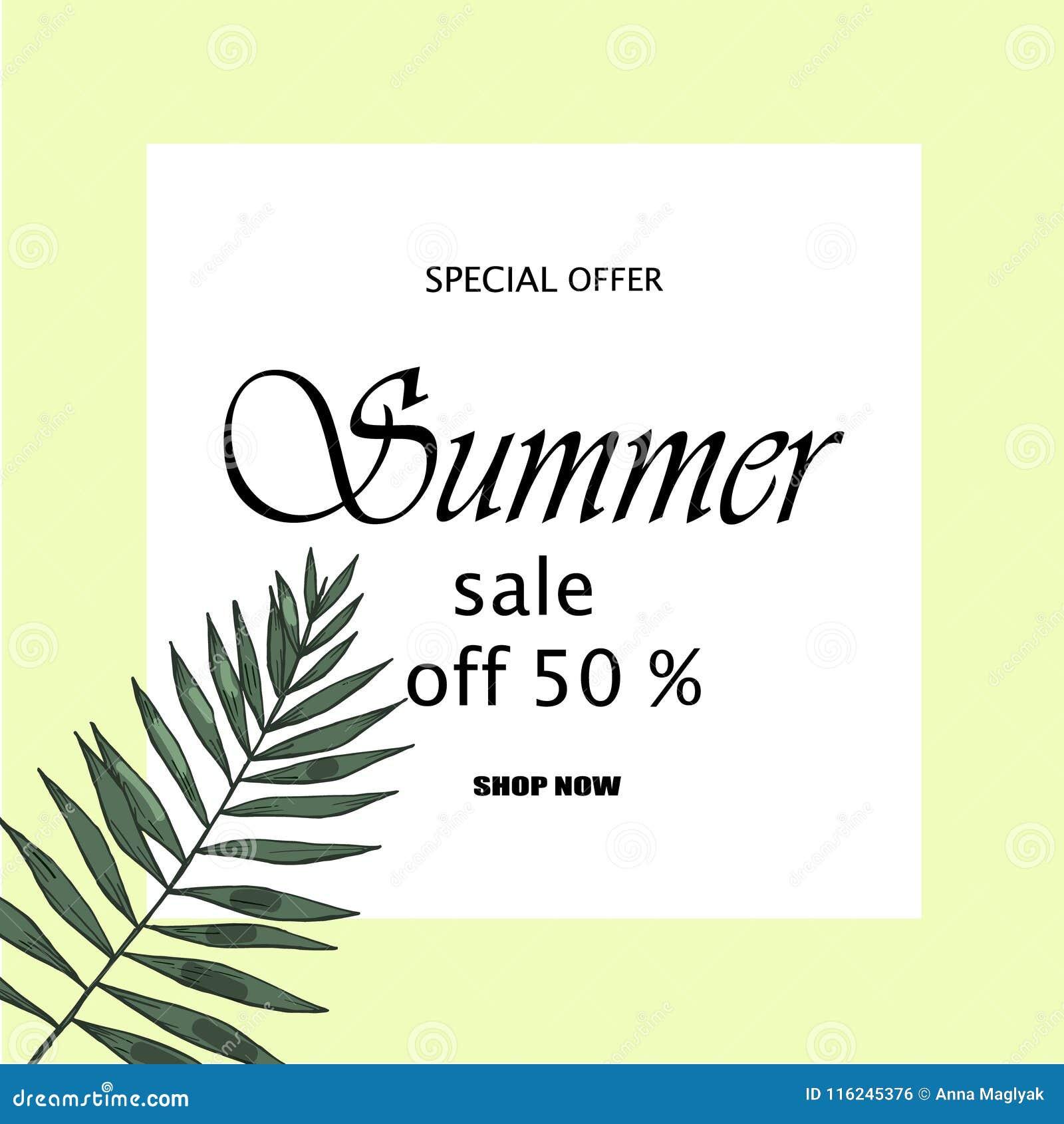 Sprzedaż sztandar, plakat z palmowymi liśćmi, dżungla liść i handwriting literowanie, Kwiecisty tropikalny lata tło