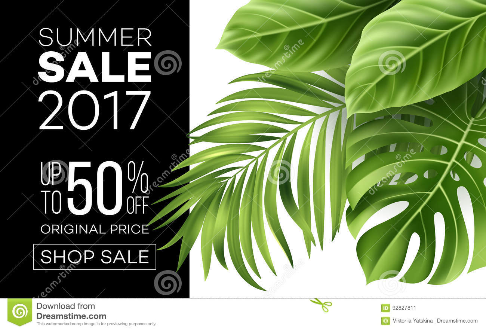 Sprzedaż sztandar, plakat z palmowymi liśćmi, dżungla liść i handwriting literowanie, Kwiecisty tropikalny lata tło wektor