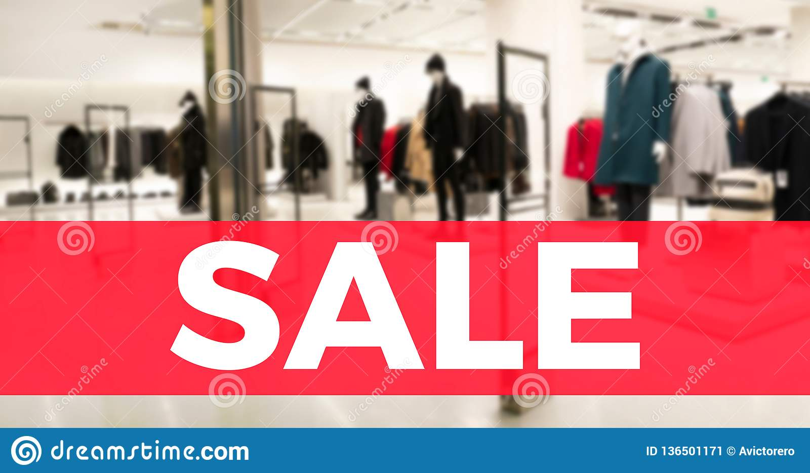 Sprzedaż sztandar z defocus mody sklepu tłem