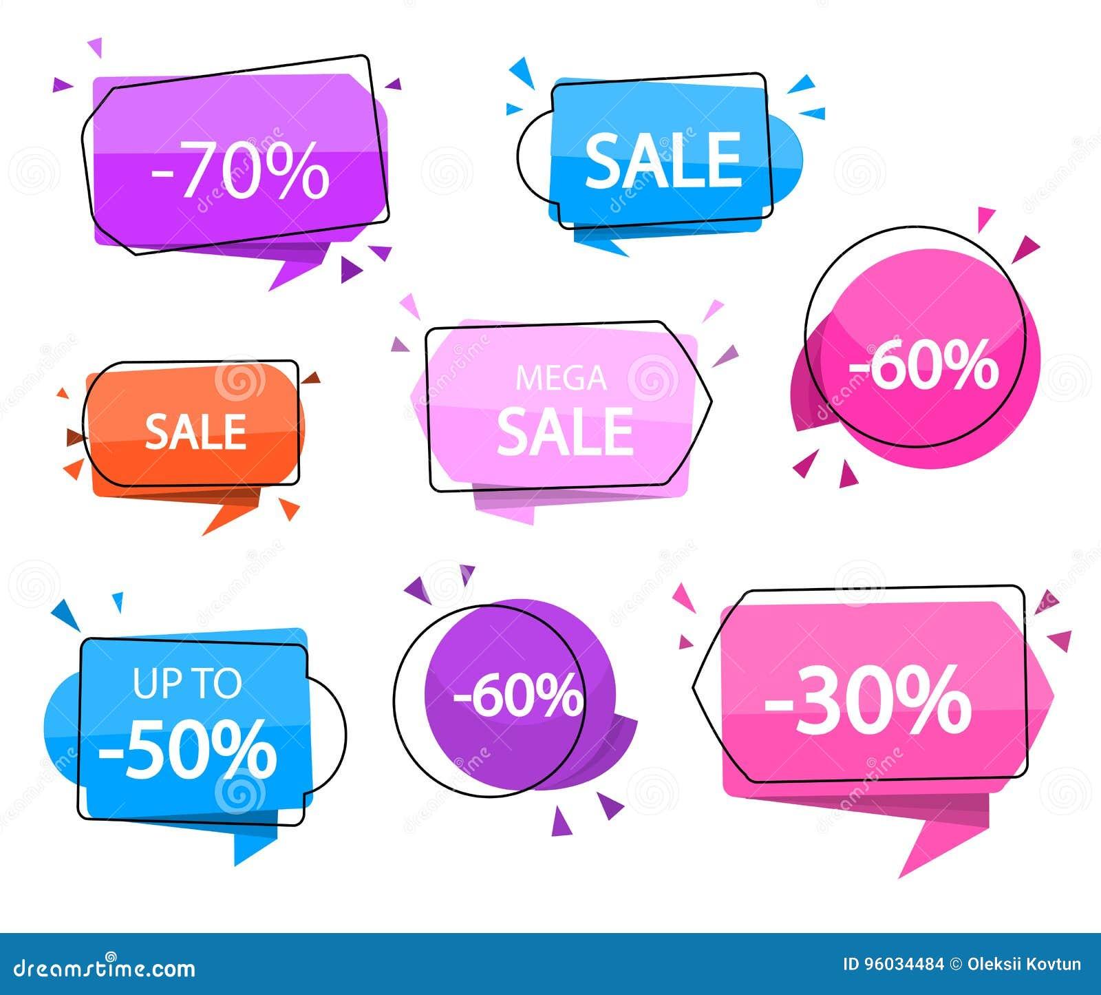 Sprzedaż sztandary również zwrócić corel ilustracji wektora Specjalna oferta wielka wyprzedaż -30, 40, 50, 60, 70 daleko akcesori