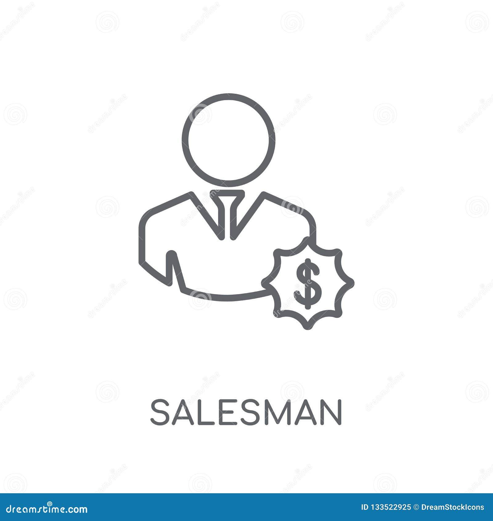 Sprzedawca liniowa ikona Nowożytny konturu sprzedawcy logo pojęcie na wh