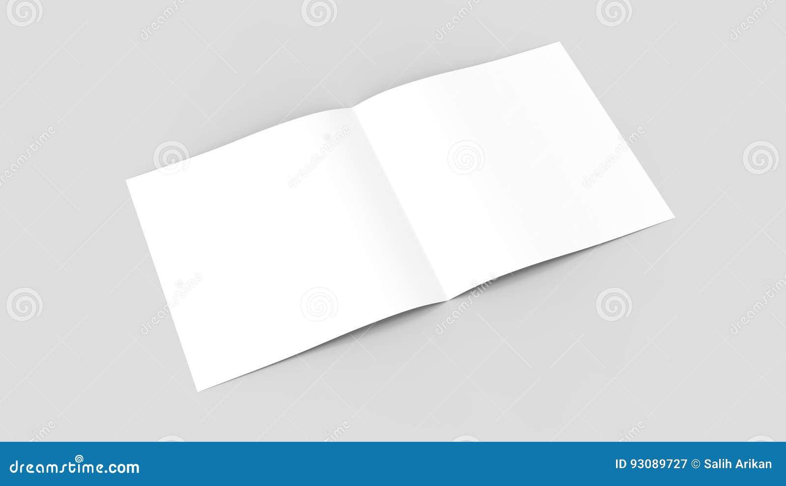 Spuare bi-fold, half fold brochure mock up. 3d illustrating.