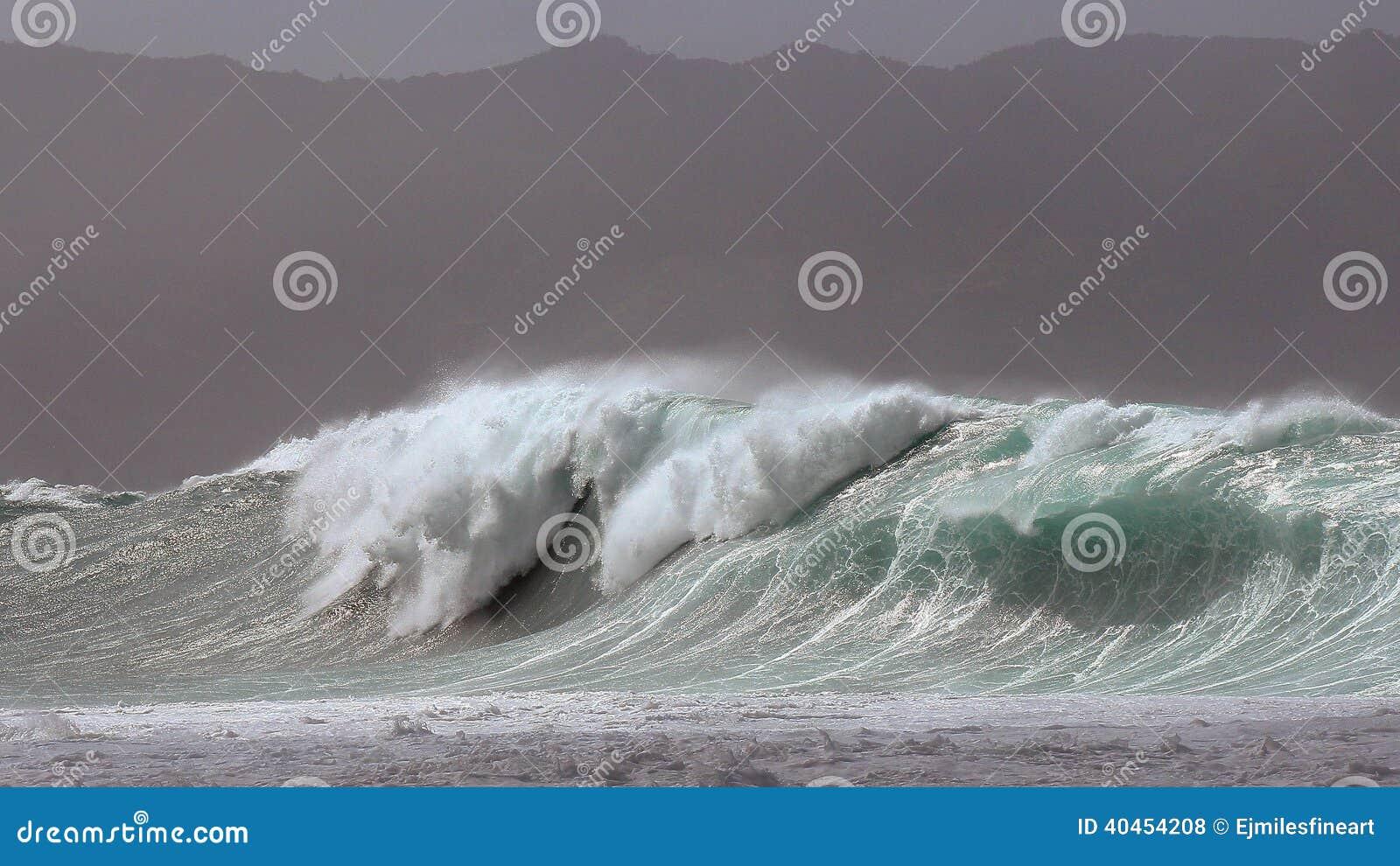 Spuma massiccia della tempesta della baia di Waimea
