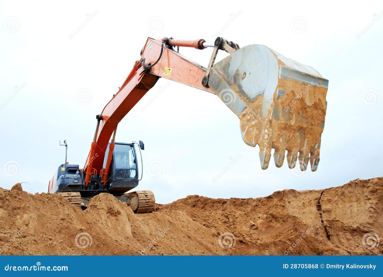 Spur-artiger Laderbagger bei der Arbeit
