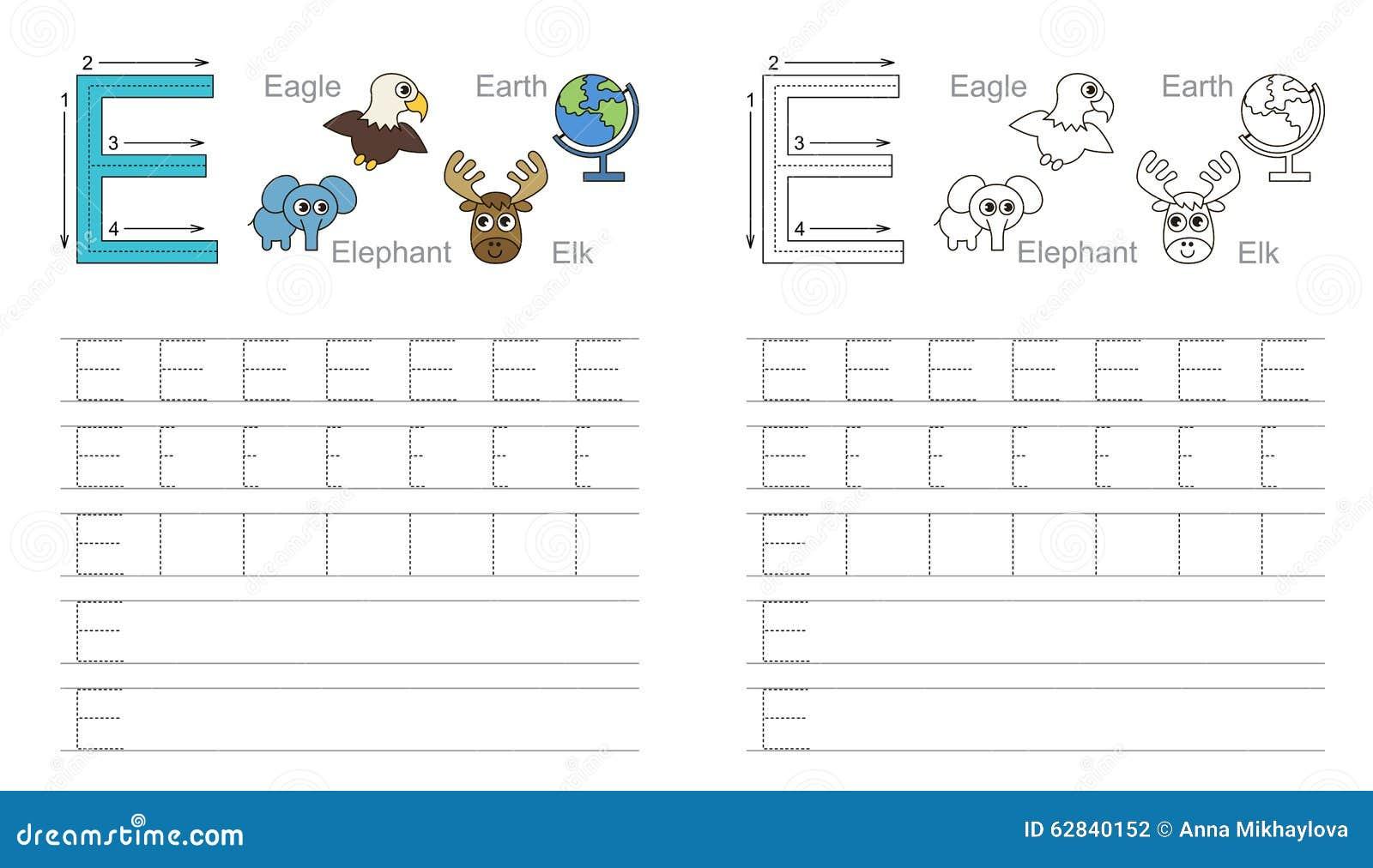 Spurarbeitsblatt Für Buchstaben E Vektor Abbildung - Illustration ...