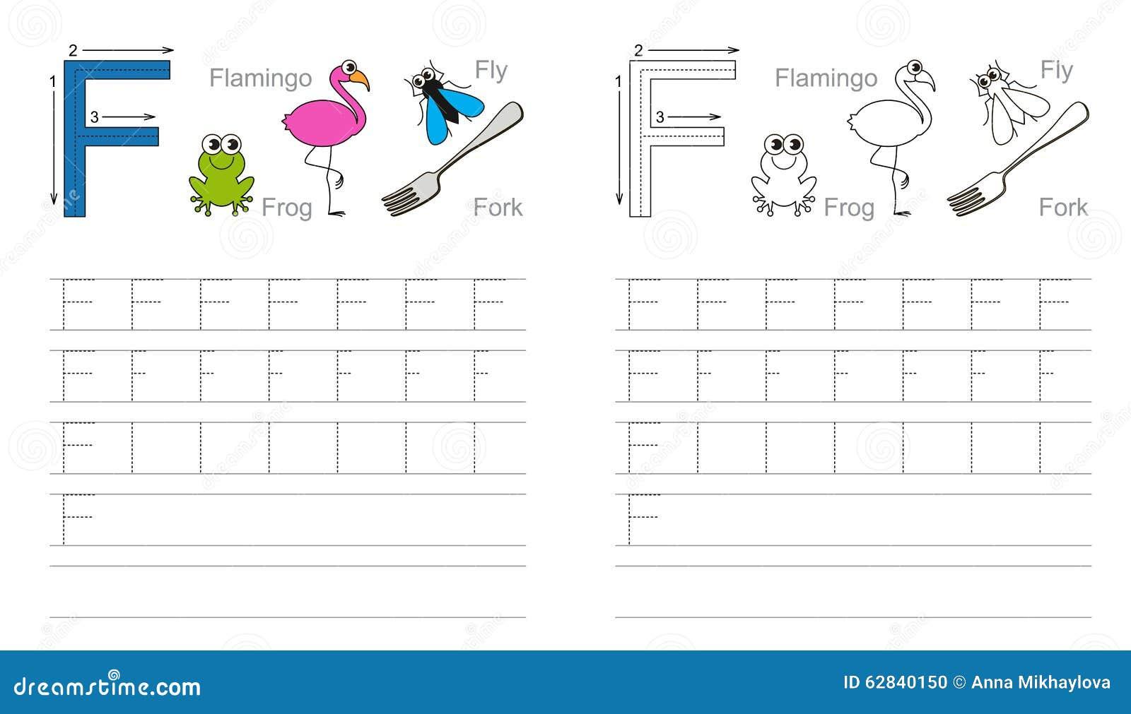 Spurarbeitsblatt Für Buchstaben F Vektor Abbildung - Illustration ...