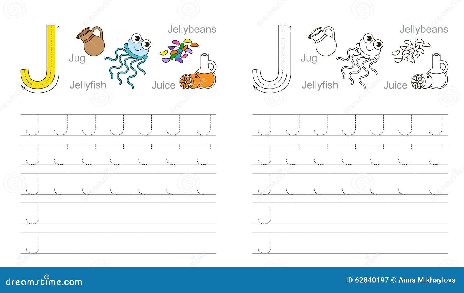 Spurarbeitsblatt Für Buchstaben J Vektor Abbildung - Illustration ...
