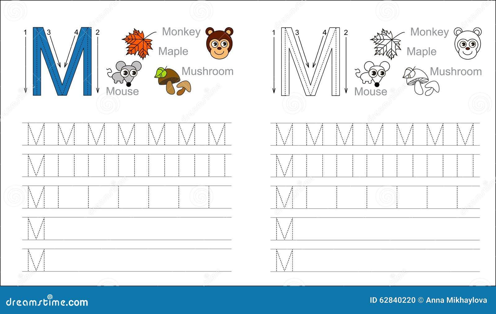 Spurarbeitsblatt Für Buchstaben M Vektor Abbildung - Illustration ...