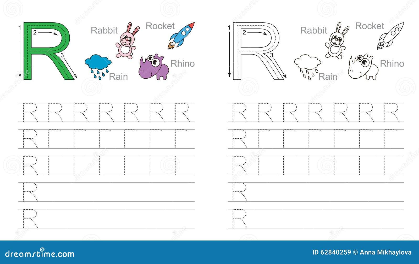 Spurarbeitsblatt Für Buchstaben R Vektor Abbildung - Illustration ...