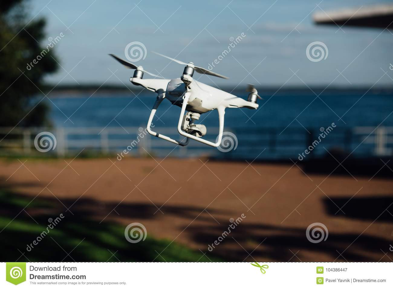 Spy Drone, Helicopter, Quadrupter Flies Through The Territory Of The