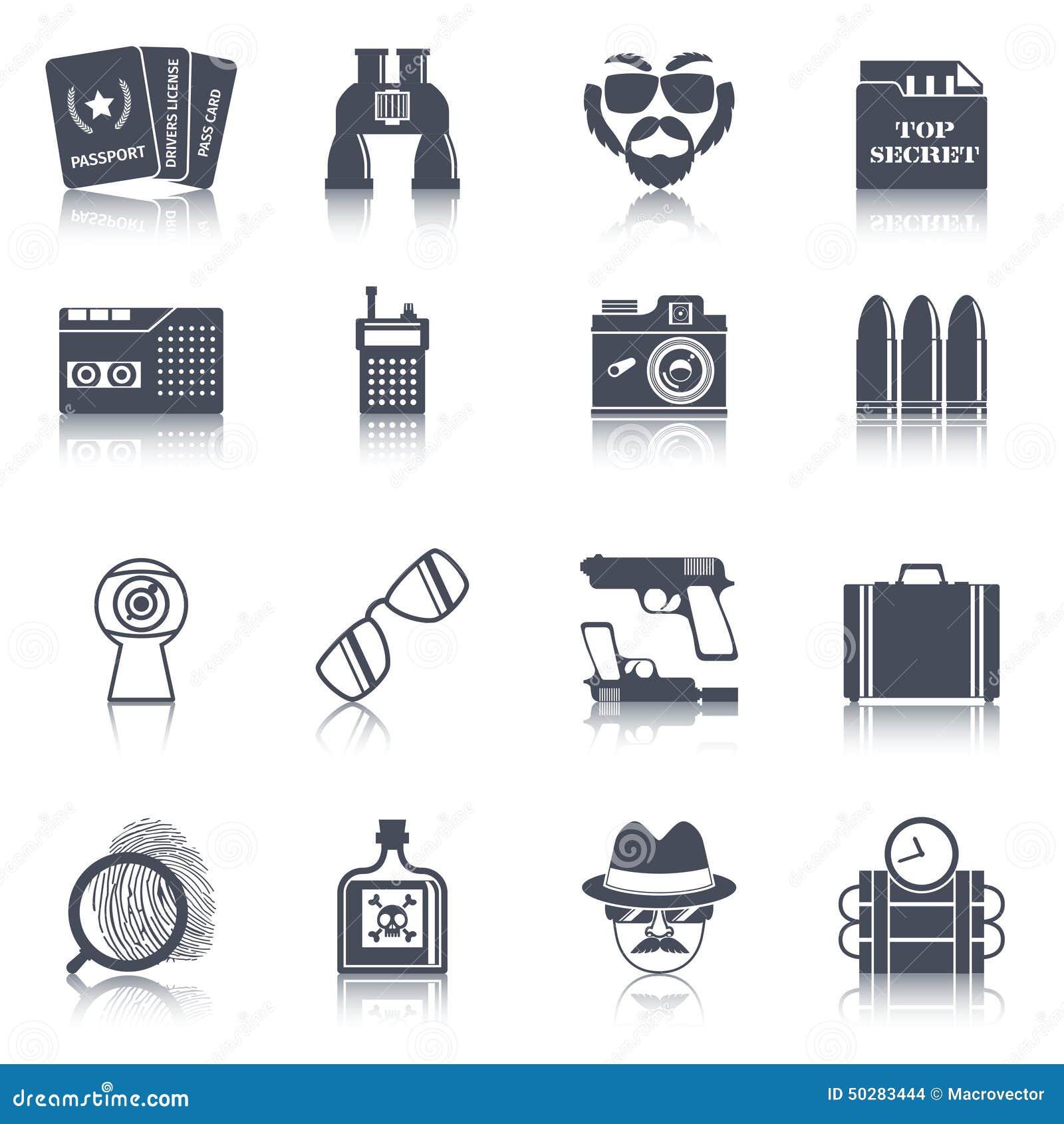 Spy Gadgets Black Icons Set Stock Vector Image 50283444