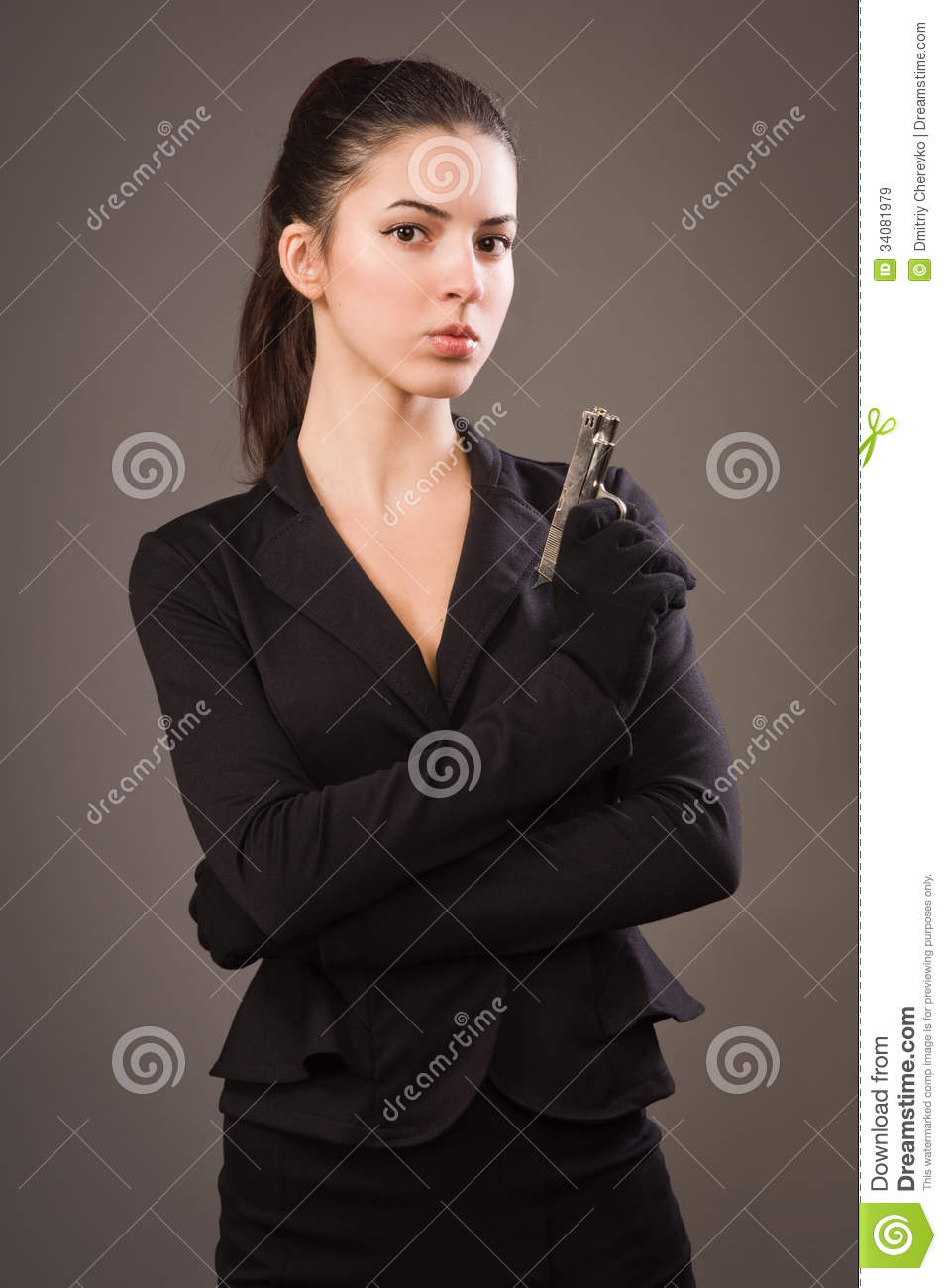 Spy Girl In A Black With Gun Royalty Free Stock Images - Image ...