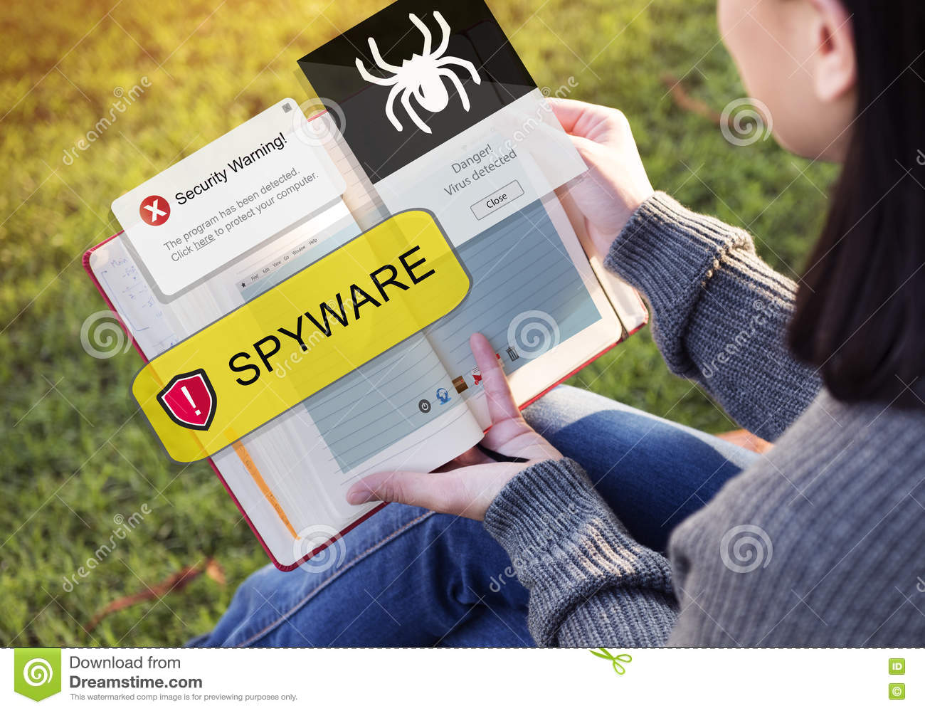 Spyware Computer Hacker Virus Malware Concept Stock Photo - Image of