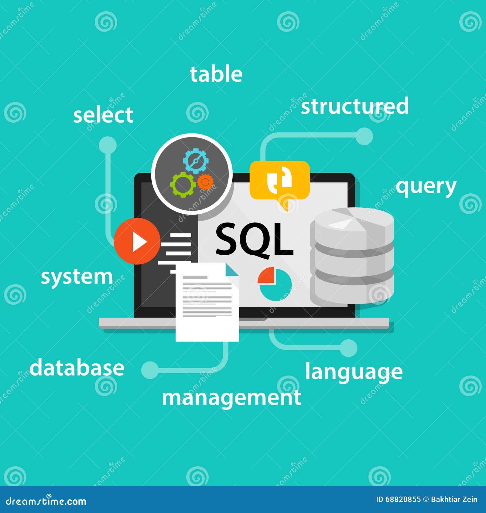Sql Structured Query Language Database Symbol Vector Illustration