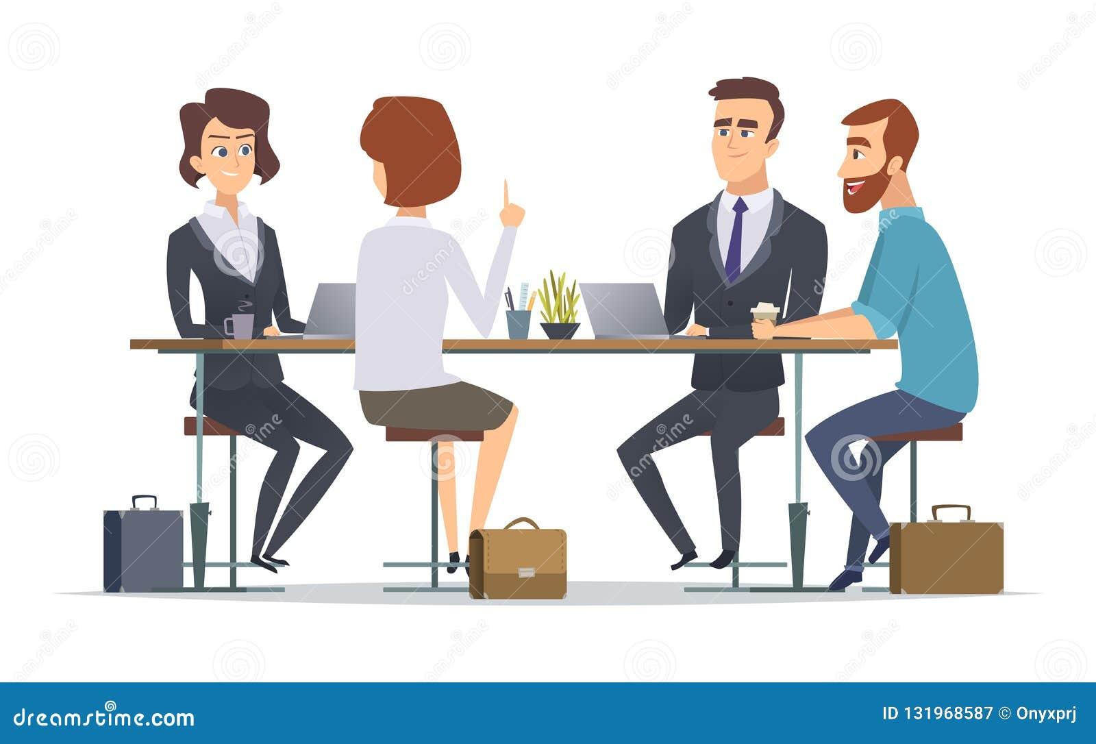 Squadra che lavora insieme Immagini di conversazione di concetto di vettore delle persone dei colleghe di dialogo del gruppo di a