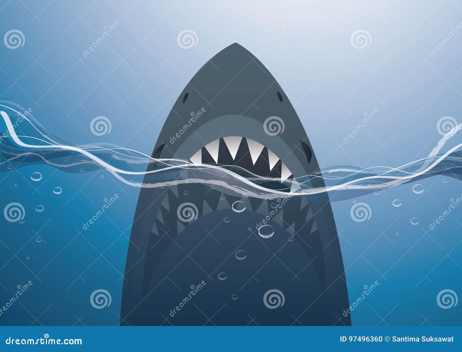Squalo nel vettore blu del fondo del mare