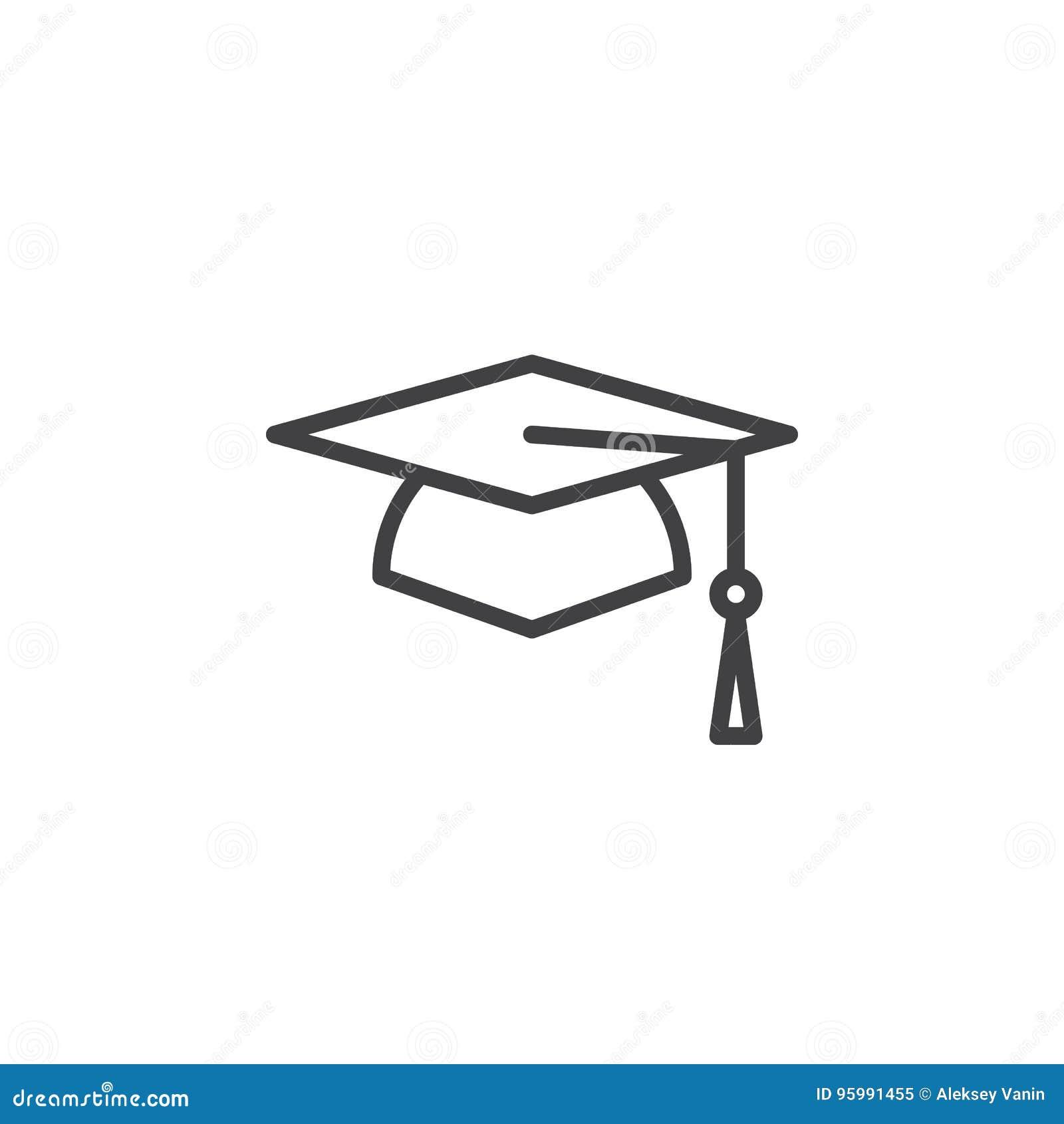 Square academic cap graduation hat line icon outline vector sign square academic cap graduation hat line icon outline vector sign linear style pictogram isolated on white biocorpaavc