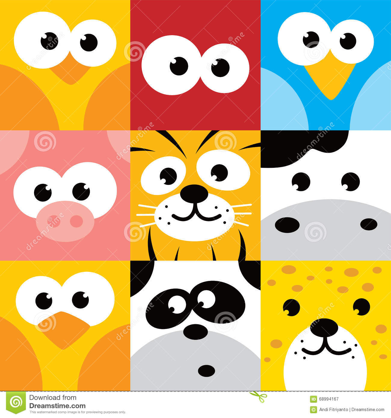 Square Animal Face Icon Button Set Stock Vector Image